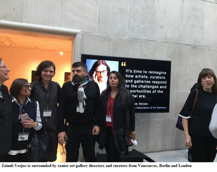 zainub verjee is surrounded by senior art gallery directors and curators from vancouver, berlin and london