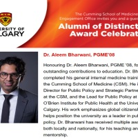 Dr. Aleem Bharwani: University of Calgary's Alumni Distinction Award Celebration!
