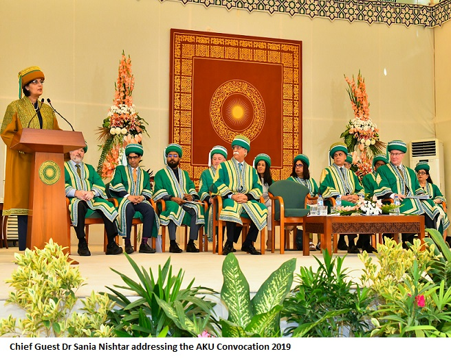 Chief Guest Dr Sania Nishtar addressing the AKU Convocation 2019