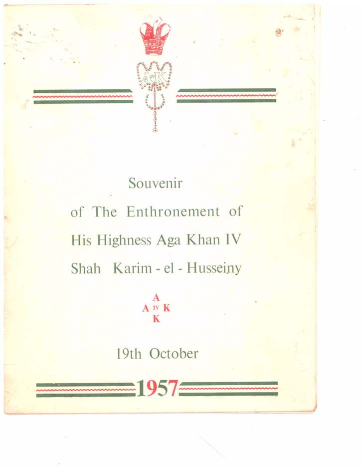 Souvenir of Entrhronement of Mawlana Hazar Imam Tanganyika Oct 19 1957_Page_01